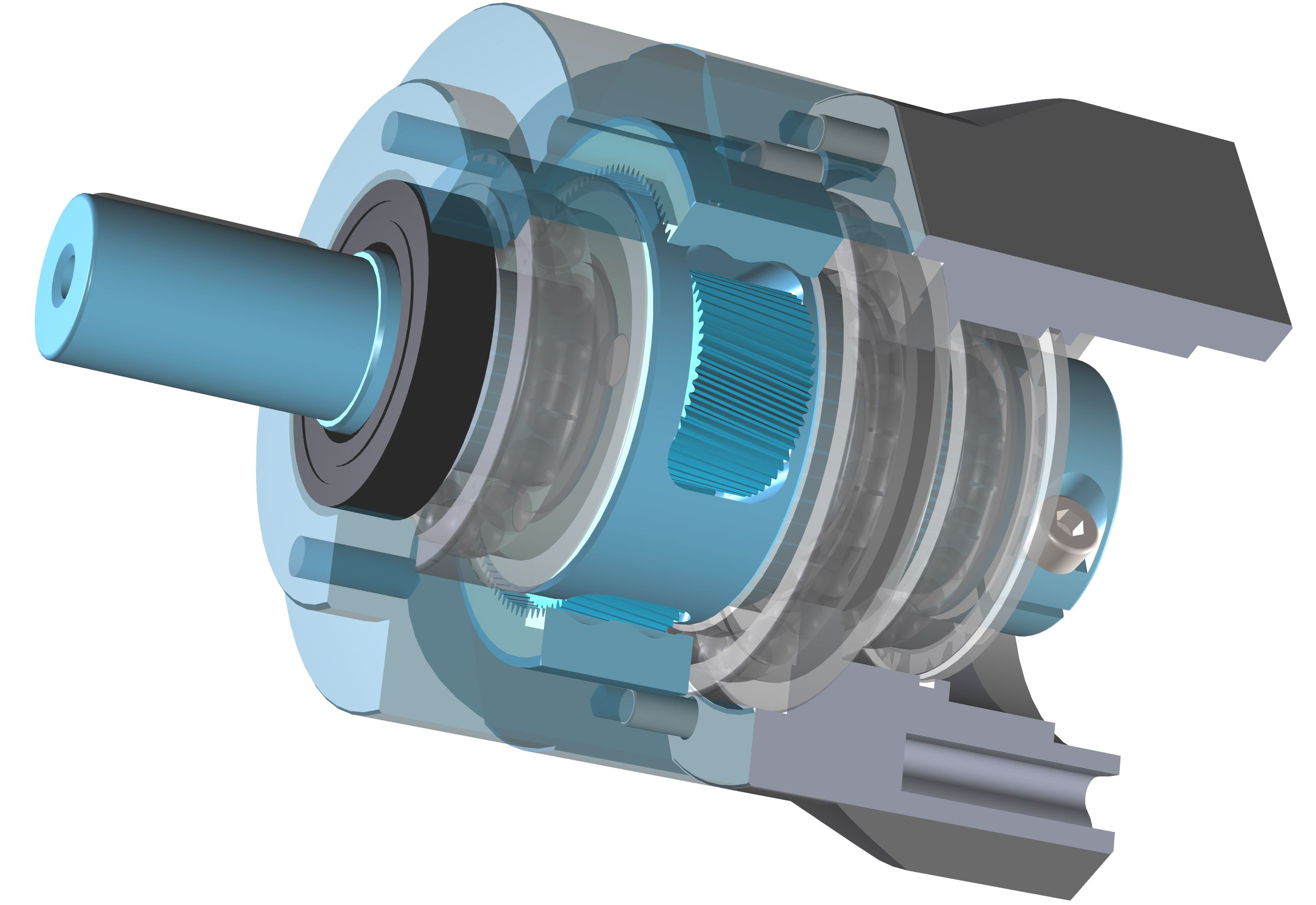 Helical planetary gearbox
