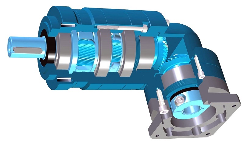 Right-angle low-backlash planetary gearbox